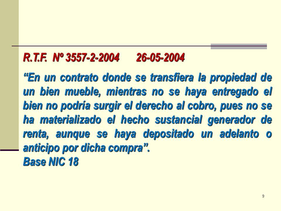 R.T.F. Nº 3557-2-2004 26-05-2004 En un contrato donde se transfiera la propiedad de un bien mueble, mientras no se haya entregado el bien no podría su
