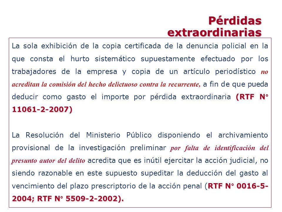 (RTF N° 11061-2-2007) La sola exhibición de la copia certificada de la denuncia policial en la que consta el hurto sistemático supuestamente efectuado