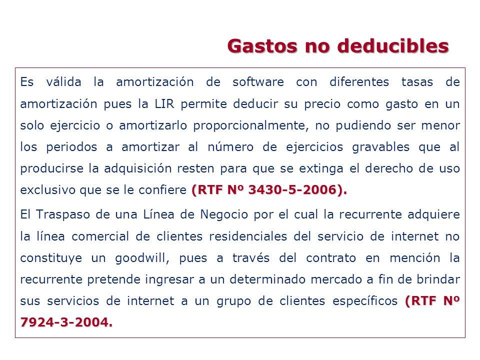 (RTF Nº 3430-5-2006). Es válida la amortización de software con diferentes tasas de amortización pues la LIR permite deducir su precio como gasto en u