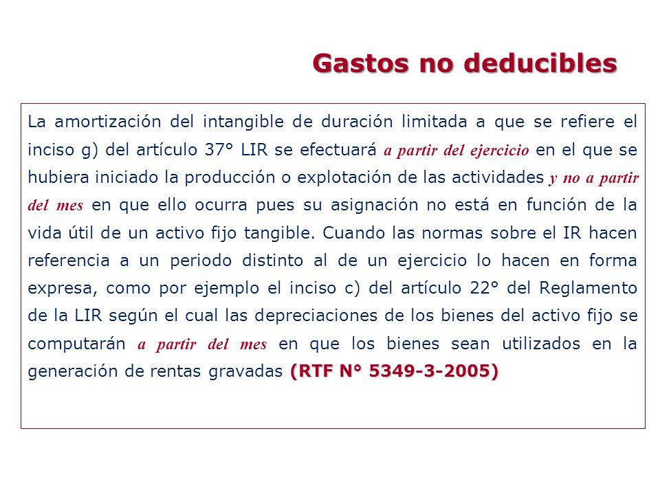 Gastos no deducibles (RTF N° 5349-3-2005) La amortización del intangible de duración limitada a que se refiere el inciso g) del artículo 37° LIR se ef