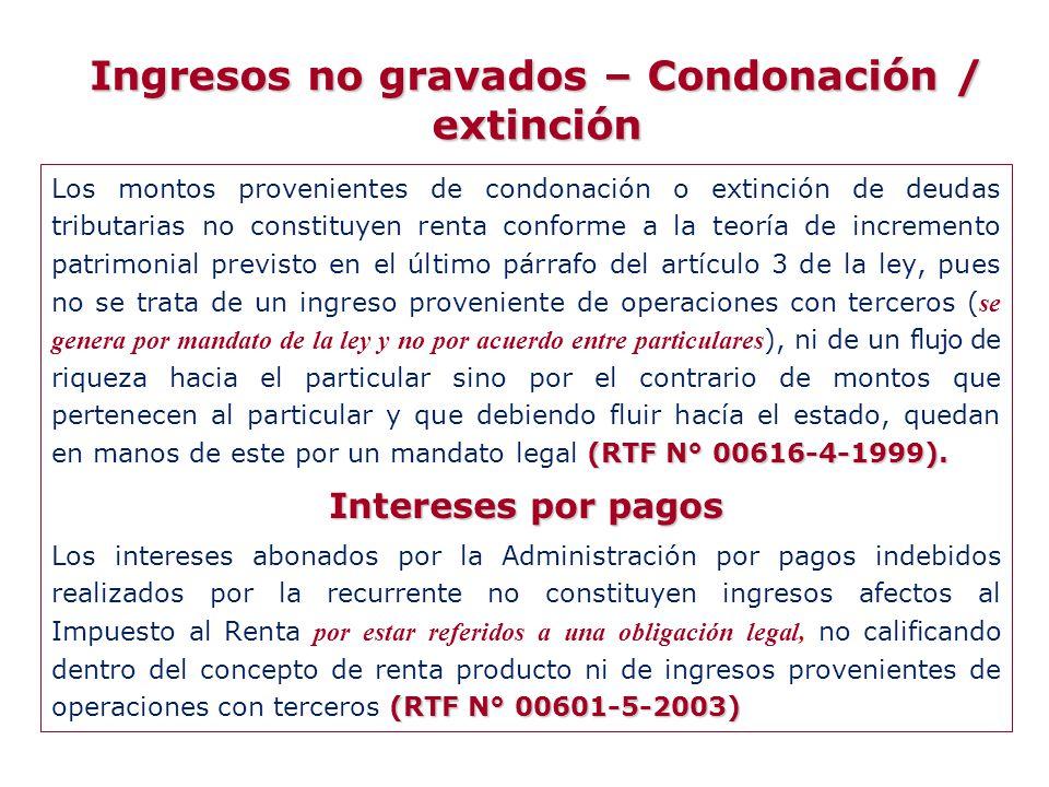 Ingresos no gravados – Condonación / extinción (RTF N° 00616-4-1999). Los montos provenientes de condonación o extinción de deudas tributarias no cons
