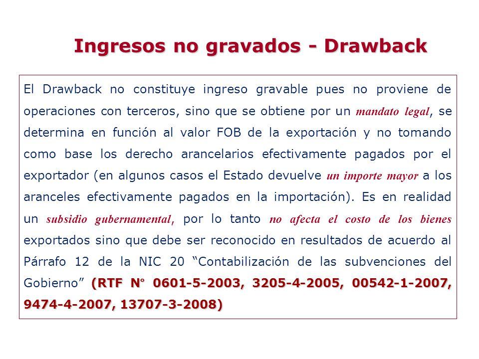Ingresos no gravados - Drawback (RTF N° 0601-5-2003, 3205-4-2005, 00542-1-2007, 9474-4-2007, 13707-3-2008) El Drawback no constituye ingreso gravable