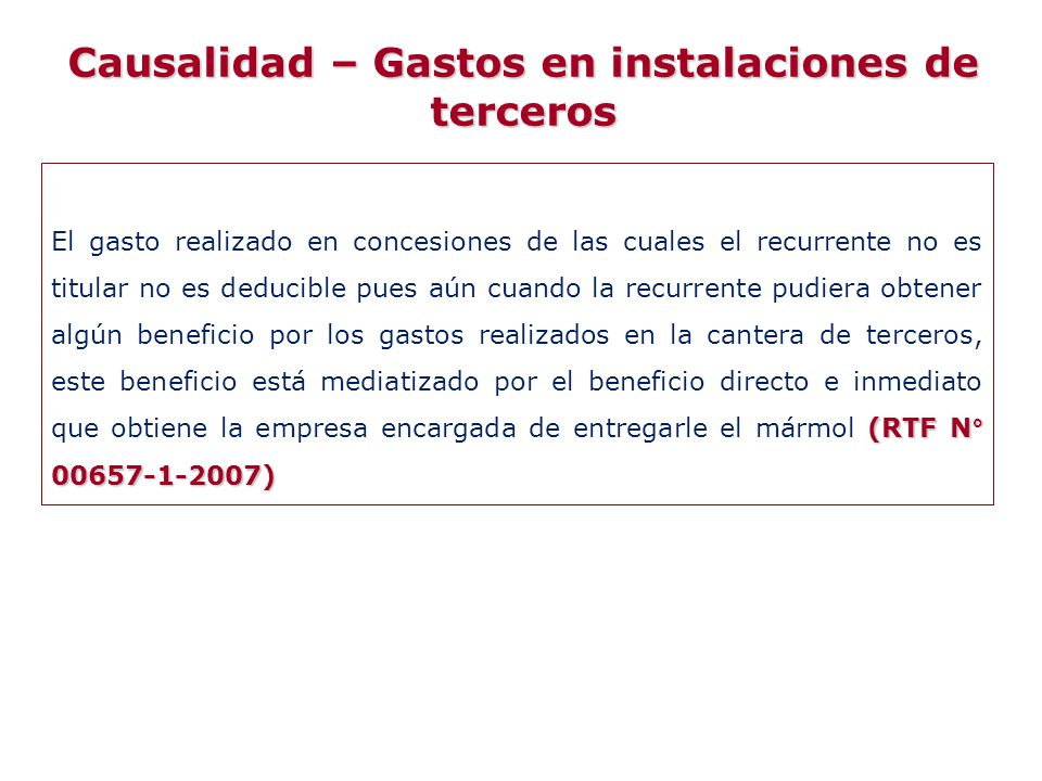 (RTF N° 00657-1-2007) El gasto realizado en concesiones de las cuales el recurrente no es titular no es deducible pues aún cuando la recurrente pudier