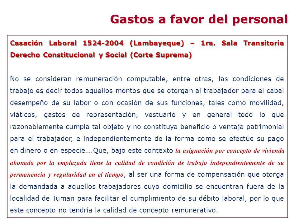 Casación Laboral 1524-2004 (Lambayeque) – 1ra. Sala Transitoria Derecho Constitucional y Social (Corte Suprema) No se consideran remuneración computab