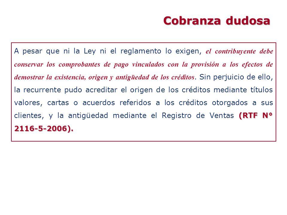(RTF N° 2116-5-2006). A pesar que ni la Ley ni el reglamento lo exigen, el contribuyente debe conservar los comprobantes de pago vinculados con la pro