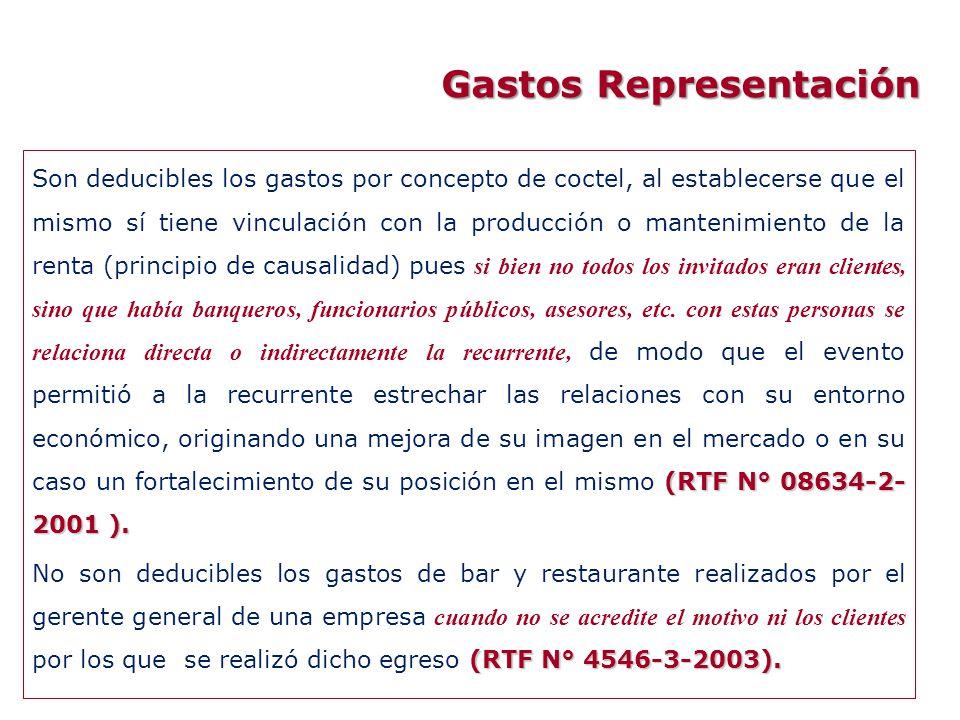 Gastos Representación (RTF N° 08634-2- 2001 ). Son deducibles los gastos por concepto de coctel, al establecerse que el mismo sí tiene vinculación con