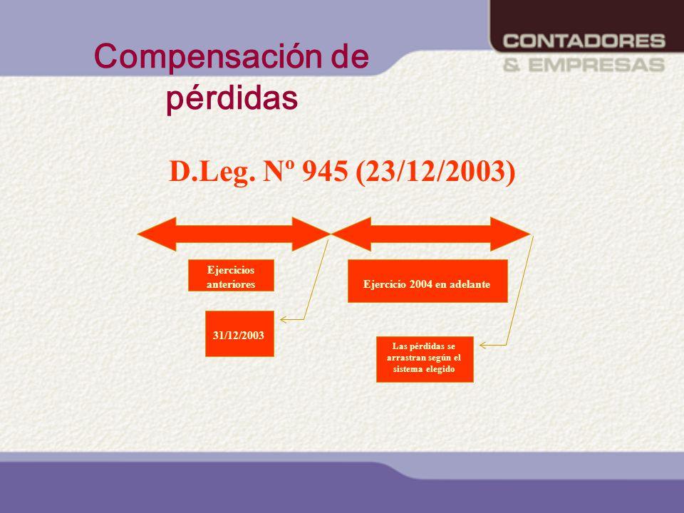 Compensación de pérdidas D.Leg. Nº 945 (23/12/2003) Ejercicios anterioresEjercicio 2004 en adelante 31/12/2003 Las pérdidas se arrastran según el sist