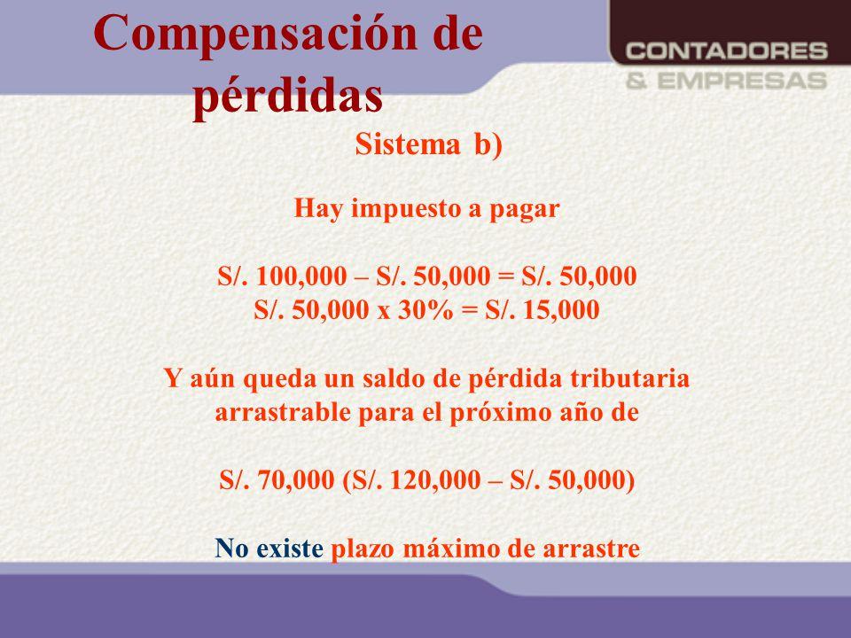 Sistema b) Hay impuesto a pagar S/. 100,000 – S/. 50,000 = S/. 50,000 S/. 50,000 x 30% = S/. 15,000 Y aún queda un saldo de pérdida tributaria arrastr