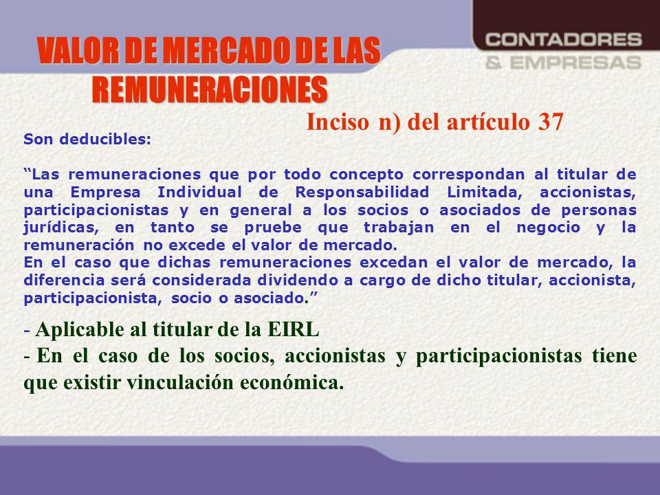 VALOR DE MERCADO DE LAS REMUNERACIONES Son deducibles: Las remuneraciones que por todo concepto correspondan al titular de una Empresa Individual de R
