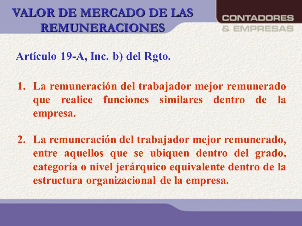 VALOR DE MERCADO DE LAS REMUNERACIONES 1.La remuneración del trabajador mejor remunerado que realice funciones similares dentro de la empresa. 2.La re