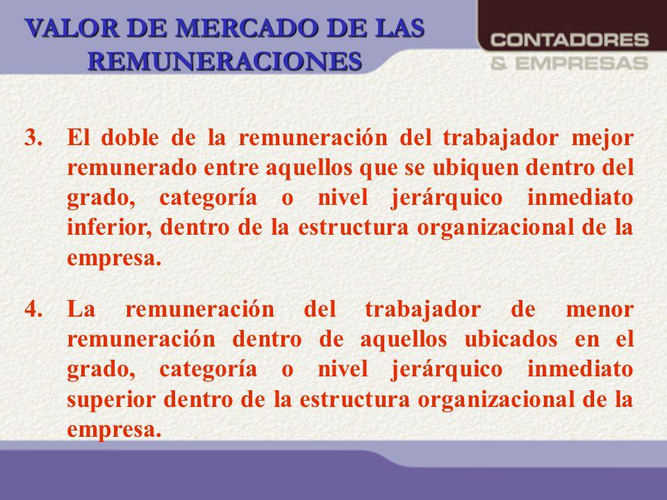 VALOR DE MERCADO DE LAS REMUNERACIONES 3.El doble de la remuneración del trabajador mejor remunerado entre aquellos que se ubiquen dentro del grado, c