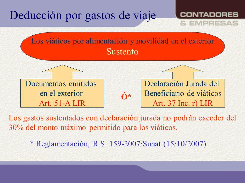 Los gastos sustentados con declaración jurada no podrán exceder del 30% del monto máximo permitido para los viáticos. Deducción por gastos de viaje Lo