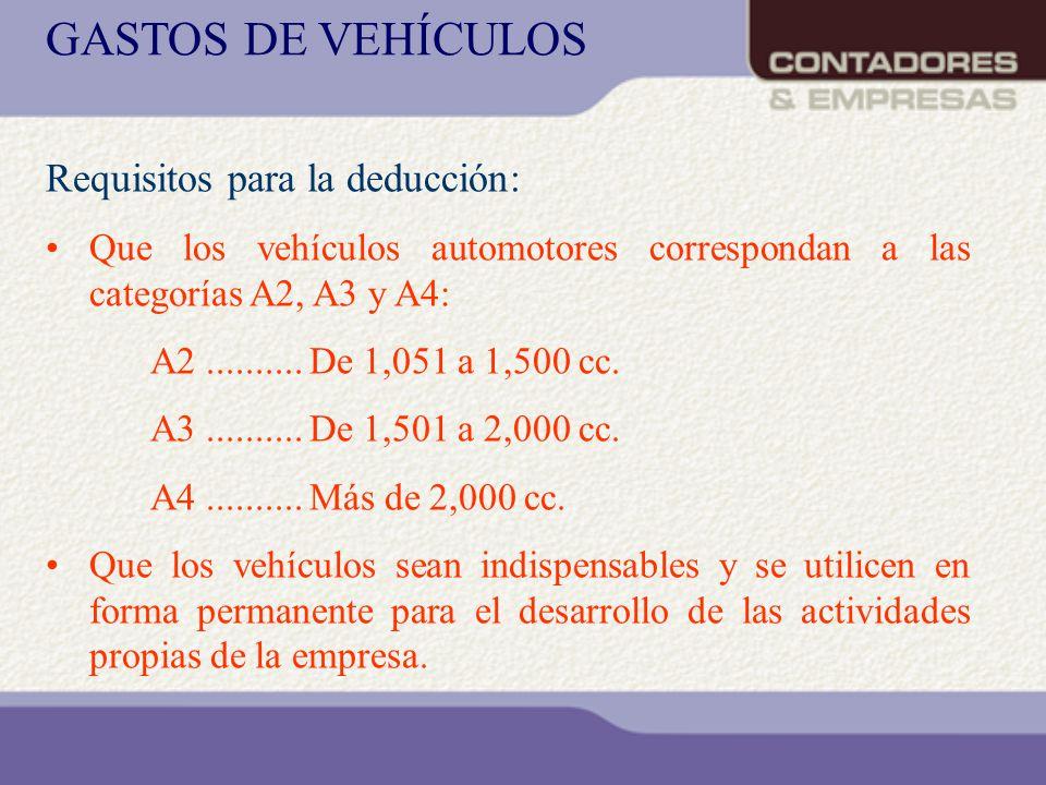 Requisitos para la deducción: Que los vehículos automotores correspondan a las categorías A2, A3 y A4: A2.......... De 1,051 a 1,500 cc. A3..........