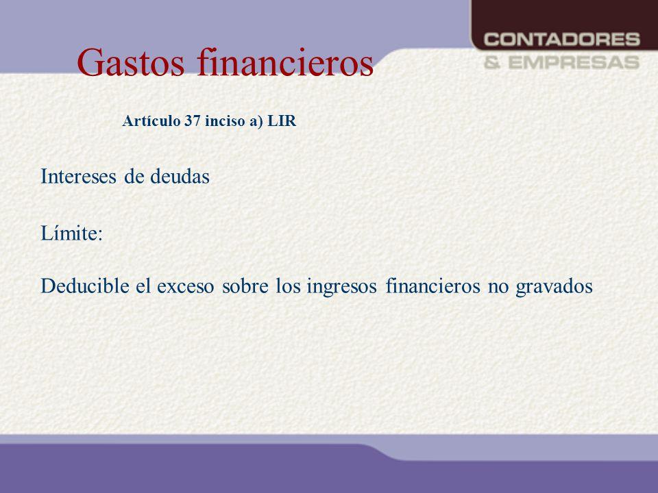 Gastos financieros Artículo 37 inciso a) LIR Límite: Deducible el exceso sobre los ingresos financieros no gravados Intereses de deudas