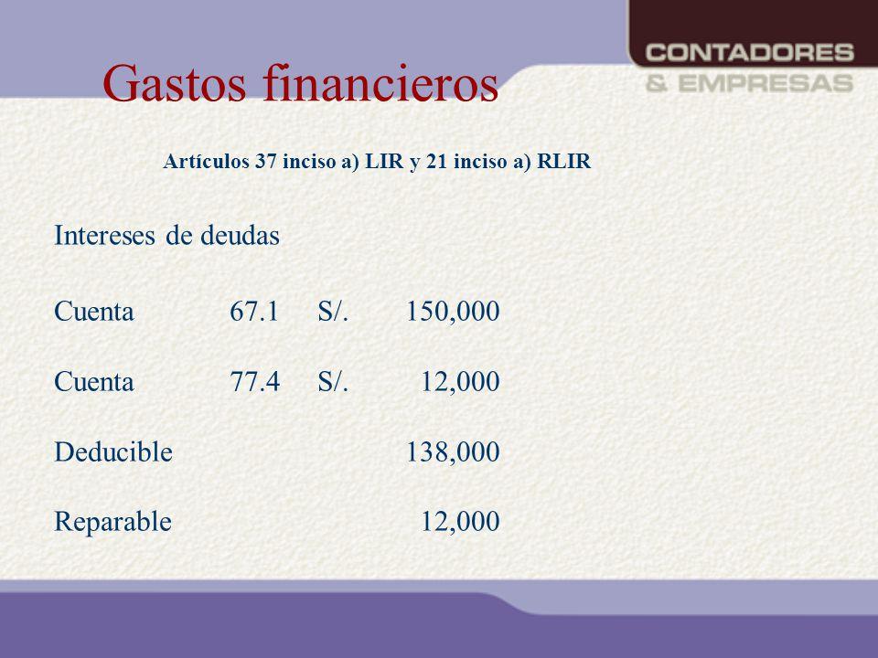 Gastos financieros Artículos 37 inciso a) LIR y 21 inciso a) RLIR Cuenta67.1S/.150,000 Cuenta77.4S/. 12,000 Deducible138,000 Reparable 12,000 Interese