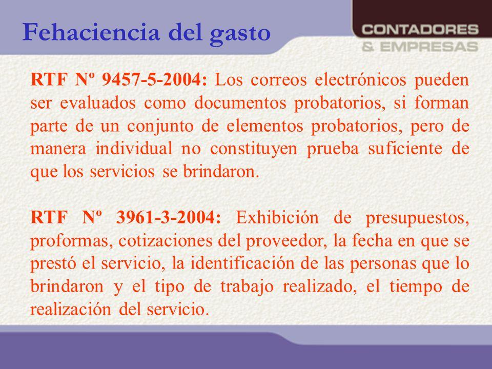 Fehaciencia del gasto RTF Nº 9457-5-2004: Los correos electrónicos pueden ser evaluados como documentos probatorios, si forman parte de un conjunto de