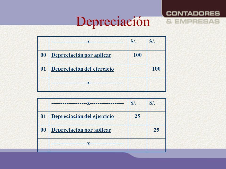 Depreciación -------------------x------------------S/. 00Depreciación por aplicar100 01Depreciación del ejercicio100 -------------------x-------------
