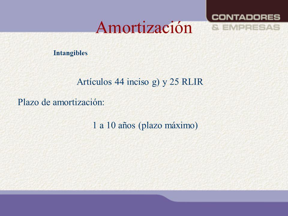 Amortización Intangibles Artículos 44 inciso g) y 25 RLIR Plazo de amortización: 1 a 10 años (plazo máximo)