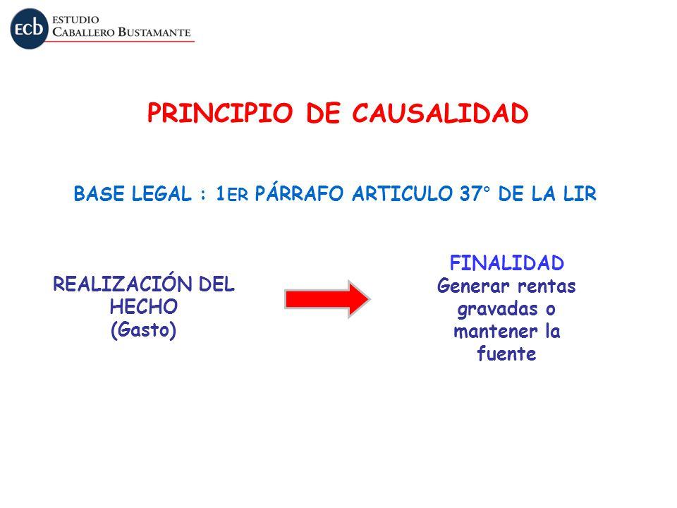 REALIZACIÓN DEL HECHO (Gasto) FINALIDAD Generar rentas gravadas o mantener la fuente BASE LEGAL : 1 ER PÁRRAFO ARTICULO 37° DE LA LIR