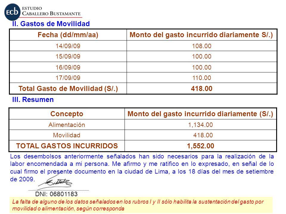 II. Gastos de Movilidad Fecha (dd/mm/aa)Monto del gasto incurrido diariamente S/.) 14/09/09108.00 15/09/09100.00 16/09/09100.00 17/09/09110.00 Total G