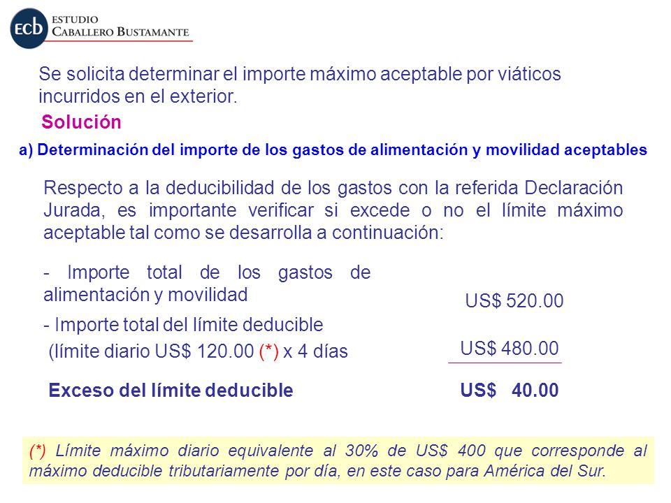 Se solicita determinar el importe máximo aceptable por viáticos incurridos en el exterior. Solución a) Determinación del importe de los gastos de alim