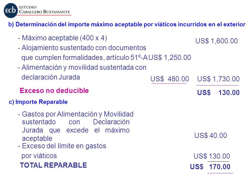 b) Determinación del importe máximo aceptable por viáticos incurridos en el exterior - Máximo aceptable (400 x 4) Exceso no deducible US$ 1,600.00 US$