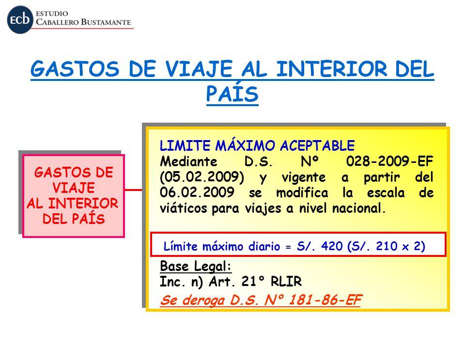 GASTOS DE VIAJE AL INTERIOR DEL PAÍS GASTOS DE VIAJE AL INTERIOR DEL PAÍS GASTOS DE VIAJE AL INTERIOR DEL PAÍS LIMITE MÁXIMO ACEPTABLE Mediante D.S. N