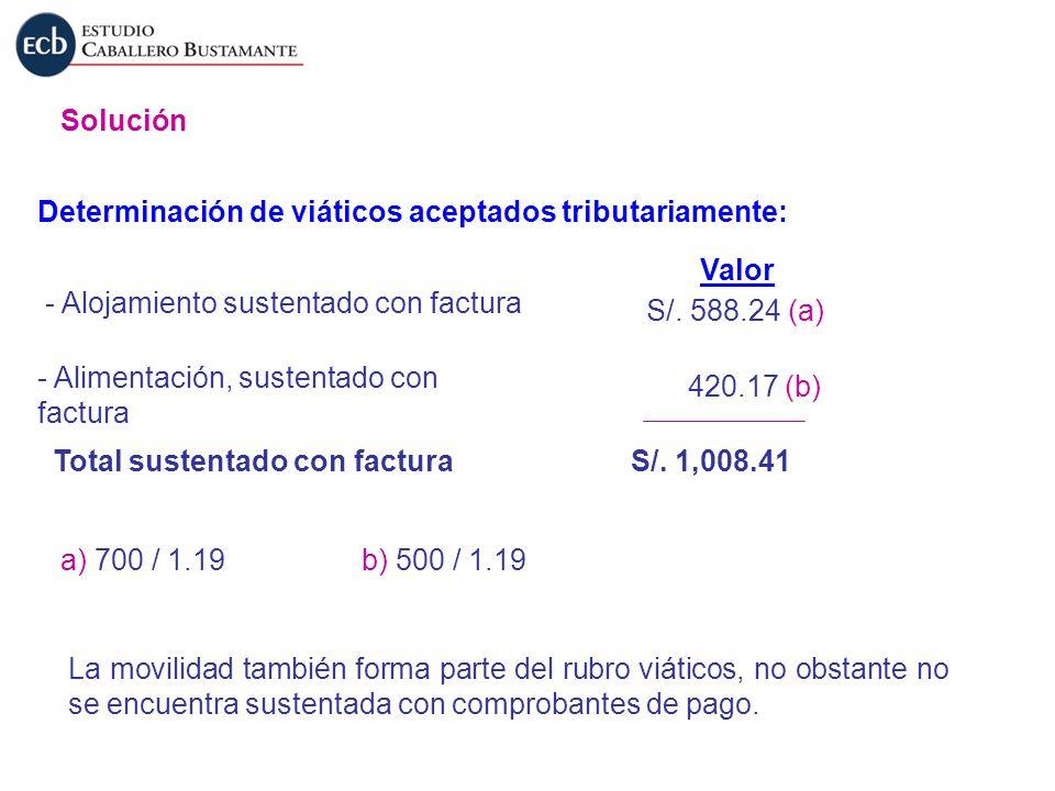 Solución Determinación de viáticos aceptados tributariamente: - Alojamiento sustentado con factura - Alimentación, sustentado con factura Total susten