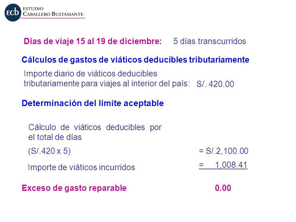 Días de viaje 15 al 19 de diciembre:5 días transcurridos Cálculos de gastos de viáticos deducibles tributariamente Importe diario de viáticos deducibl