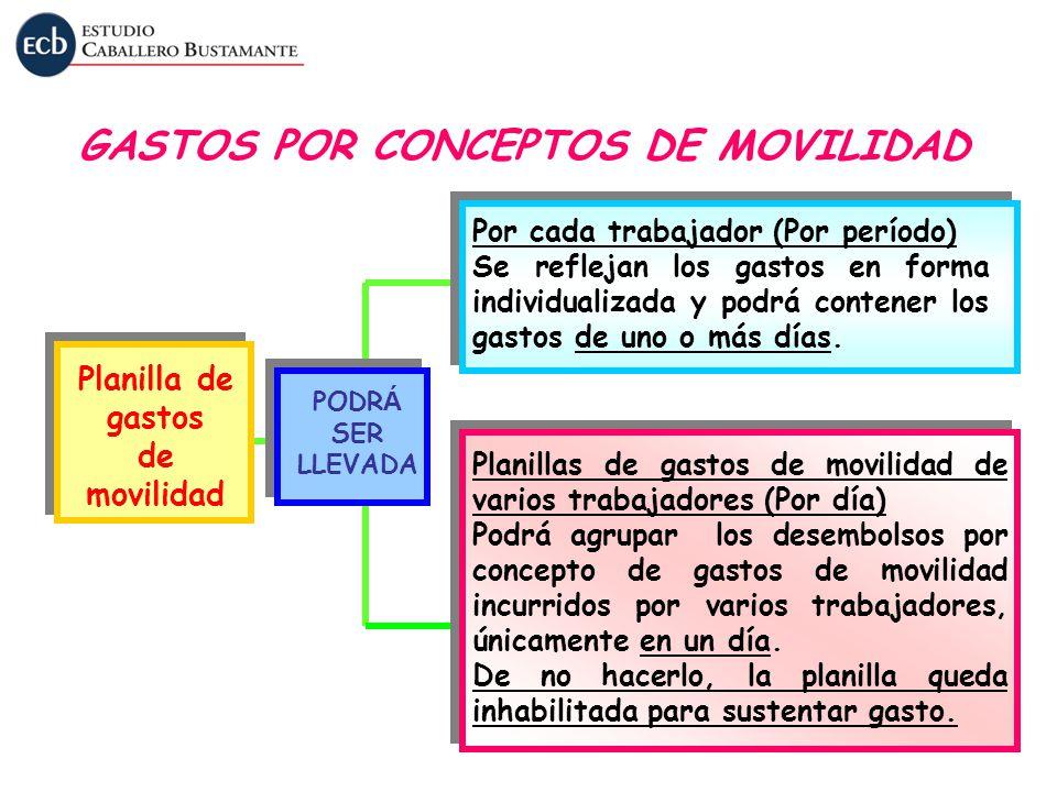 GASTOS POR CONCEPTOS DE MOVILIDAD Planilla de gastos de movilidad PODR Á SER LLEVADA Por cada trabajador (Por período) Se reflejan los gastos en forma