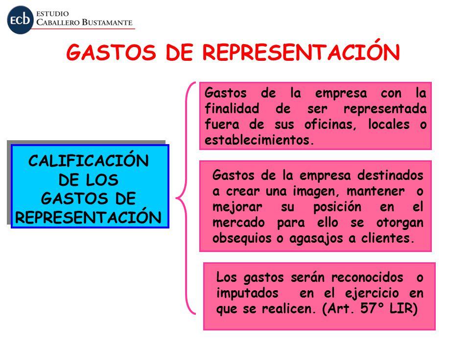 GASTOS DE REPRESENTACIÓN CALIFICACIÓN DE LOS GASTOS DE REPRESENTACIÓN Gastos de la empresa con la finalidad de ser representada fuera de sus oficinas,