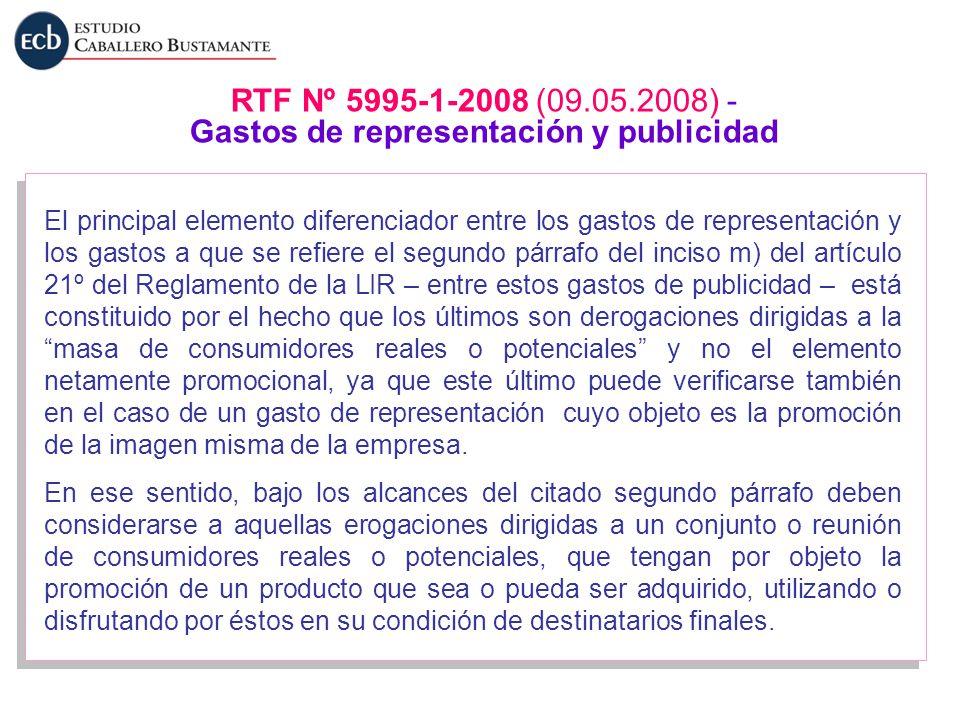 El principal elemento diferenciador entre los gastos de representación y los gastos a que se refiere el segundo párrafo del inciso m) del artículo 21º