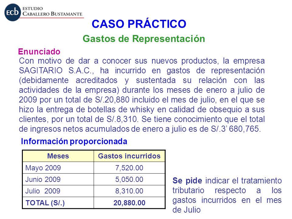 Gastos de Representación Enunciado Con motivo de dar a conocer sus nuevos productos, la empresa SAGITARIO S.A.C., ha incurrido en gastos de representa