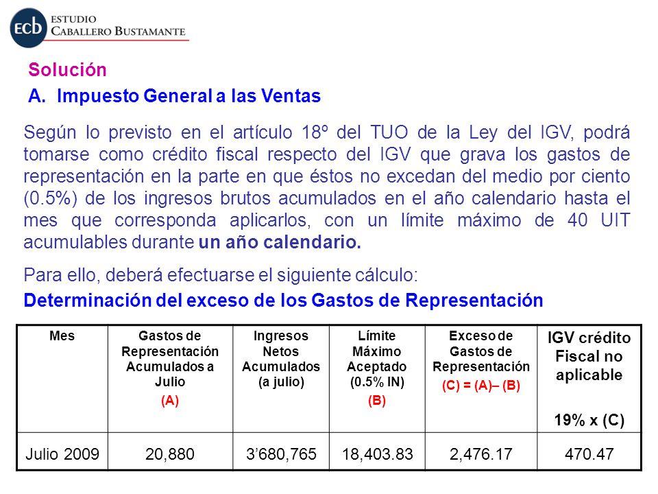 Solución A. Impuesto General a las Ventas Según lo previsto en el artículo 18º del TUO de la Ley del IGV, podrá tomarse como crédito fiscal respecto d