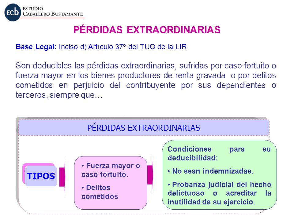 PÉRDIDAS EXTRAORDINARIAS Base Legal: Inciso d) Artículo 37º del TUO de la LIR TIPOS Fuerza mayor o caso fortuito. Delitos cometidos Condiciones para s