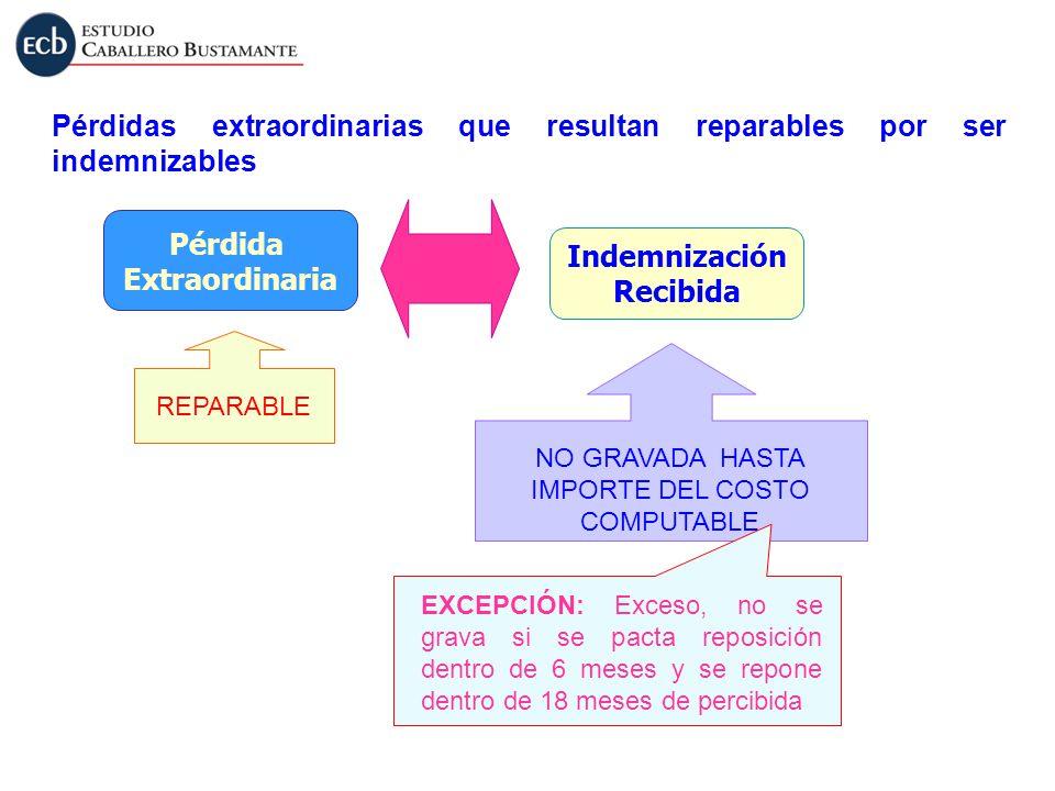 Pérdidas extraordinarias que resultan reparables por ser indemnizables Indemnización Recibida Pérdida Extraordinaria NO GRAVADA HASTA IMPORTE DEL COST