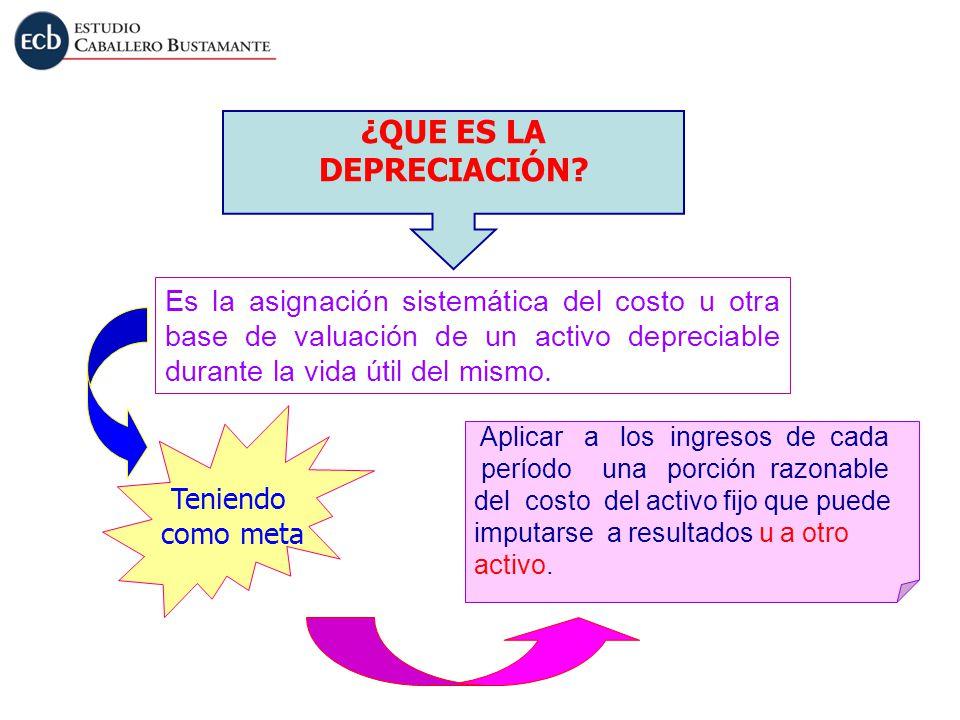 ¿QUE ES LA DEPRECIACIÓN? Es la asignación sistemática del costo u otra base de valuación de un activo depreciable durante la vida útil del mismo. Teni