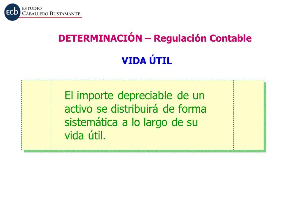 El importe depreciable de un activo se distribuirá de forma sistemática a lo largo de su vida útil. VIDA ÚTIL DETERMINACIÓN – Regulación Contable