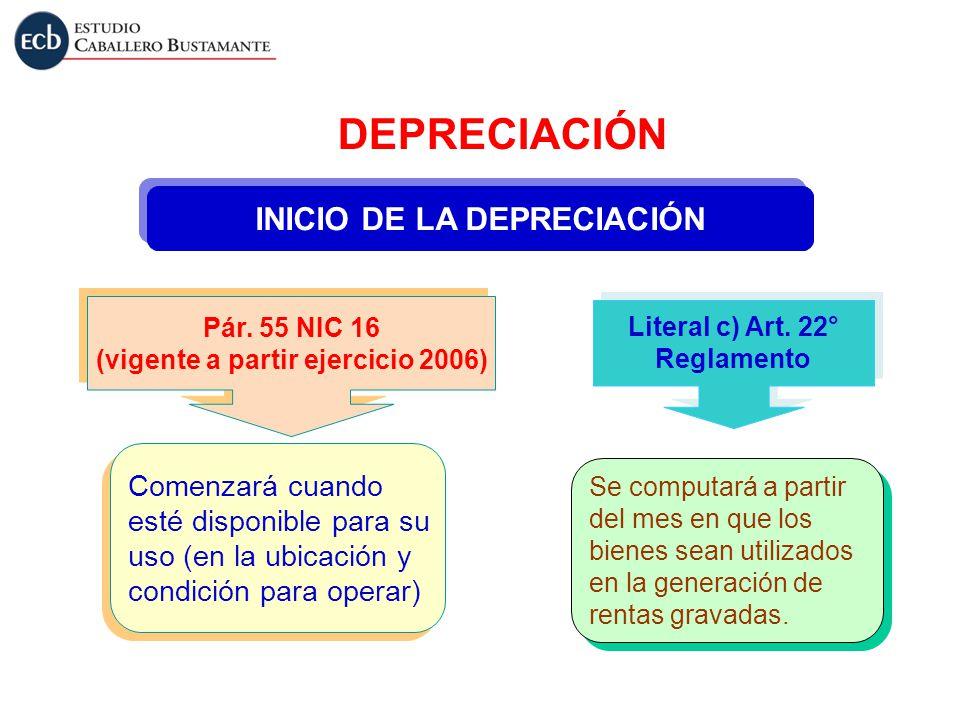 INICIO DE LA DEPRECIACIÓN Pár. 55 NIC 16 (vigente a partir ejercicio 2006) Pár. 55 NIC 16 (vigente a partir ejercicio 2006) Literal c) Art. 22° Reglam