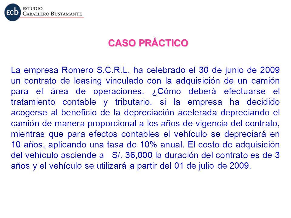 CASO PRÁCTICO La empresa Romero S.C.R.L. ha celebrado el 30 de junio de 2009 un contrato de leasing vinculado con la adquisición de un camión para el
