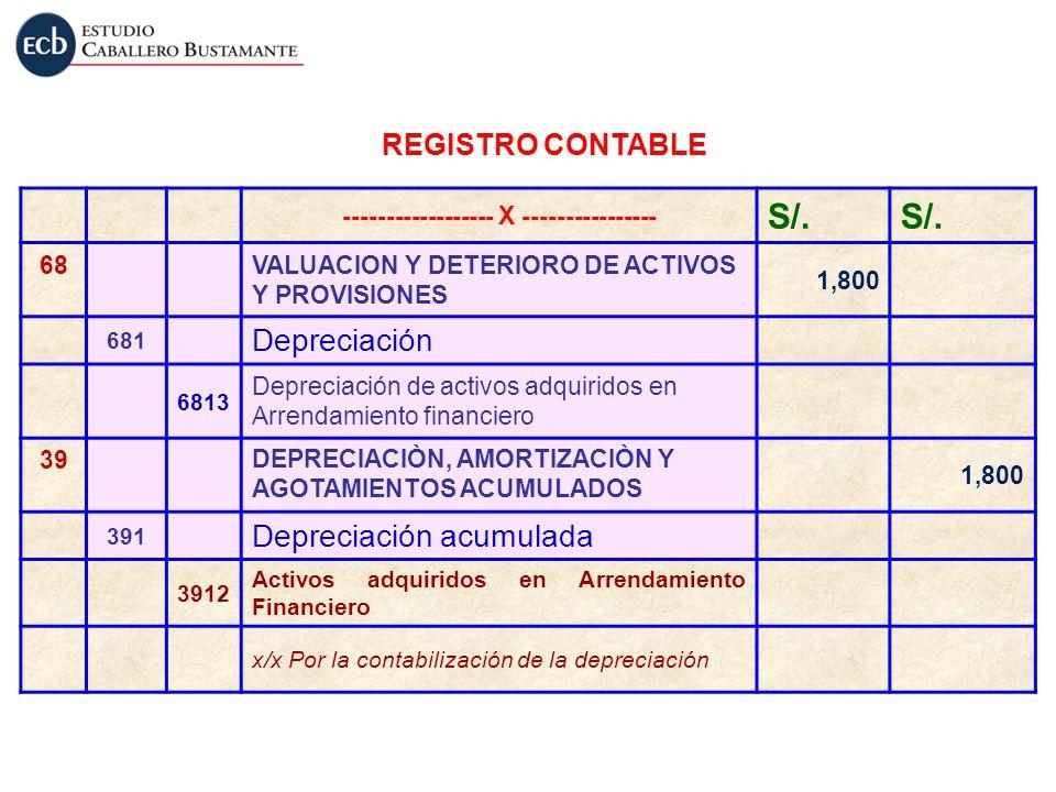 ------------------ X ---------------- S/. 68VALUACION Y DETERIORO DE ACTIVOS Y PROVISIONES 1,800 681 Depreciación 6813 Depreciación de activos adquiri