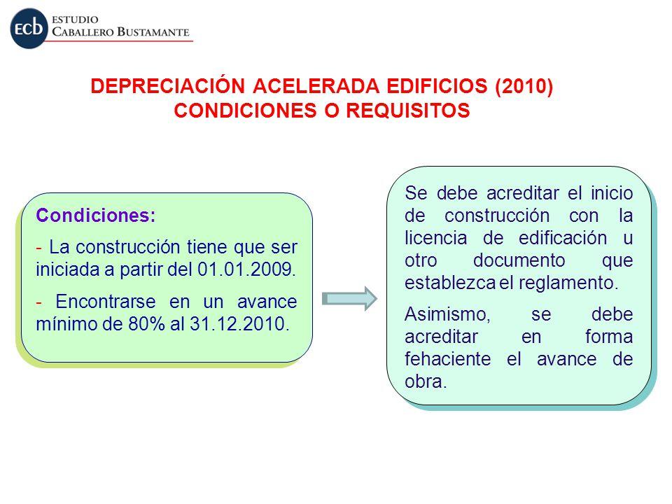 Condiciones: - La construcción tiene que ser iniciada a partir del 01.01.2009. - Encontrarse en un avance mínimo de 80% al 31.12.2010. Condiciones: -
