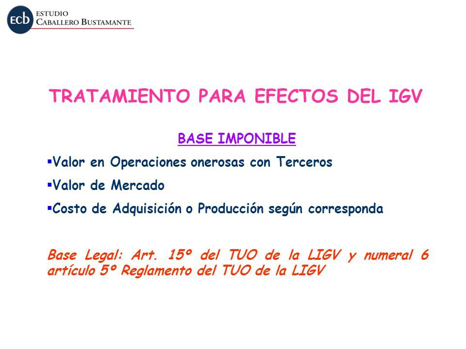 BASE IMPONIBLE Valor en Operaciones onerosas con Terceros Valor de Mercado Costo de Adquisición o Producción según corresponda Base Legal: Art. 15º de