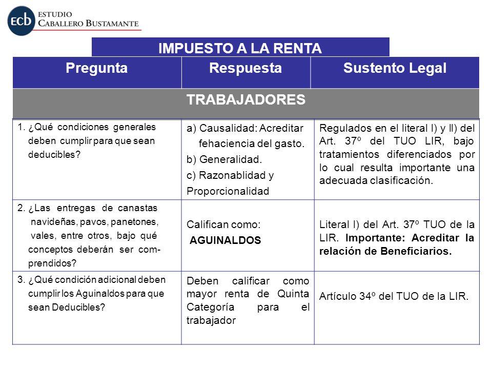 IMPUESTO A LA RENTA PreguntaRespuestaSustento Legal TRABAJADORES 1. ¿Qué condiciones generales deben cumplir para que sean deducibles? a) Causalidad: