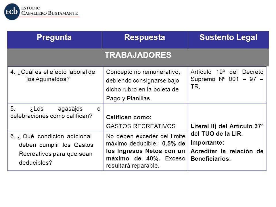 PreguntaRespuestaSustento Legal TRABAJADORES 4. ¿Cuál es el efecto laboral de los Aguinaldos? Concepto no remunerativo, debiendo consignarse bajo dich