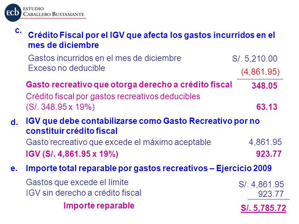 Crédito Fiscal por el IGV que afecta los gastos incurridos en el mes de diciembre c. Gastos incurridos en el mes de diciembre Exceso no deducible Gast