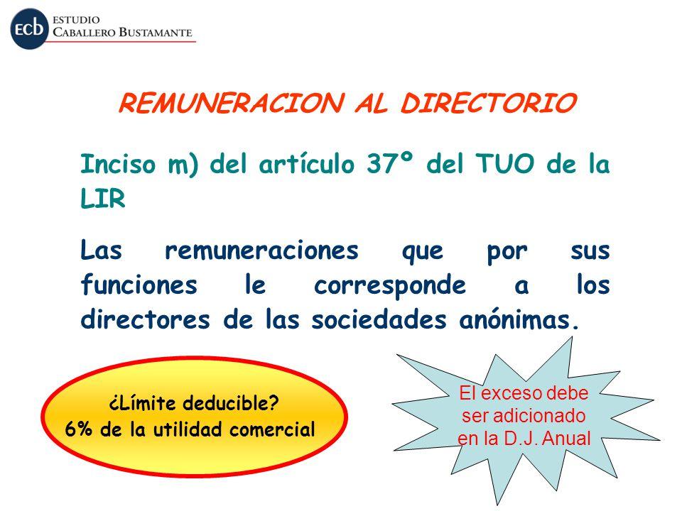 Inciso m) del artículo 37º del TUO de la LIR Las remuneraciones que por sus funciones le corresponde a los directores de las sociedades anónimas. REMU