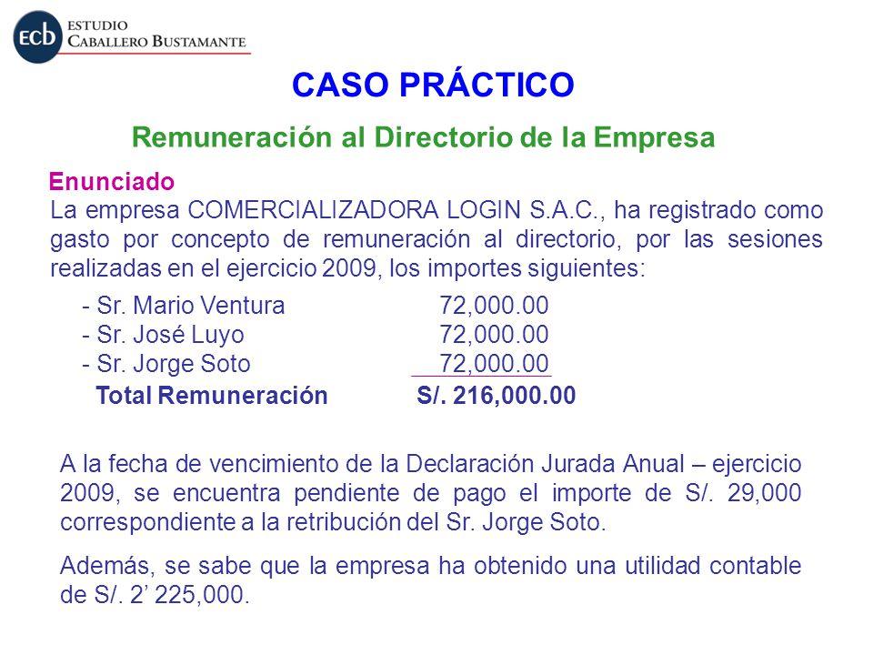 Remuneración al Directorio de la Empresa Enunciado CASO PRÁCTICO La empresa COMERCIALIZADORA LOGIN S.A.C., ha registrado como gasto por concepto de re