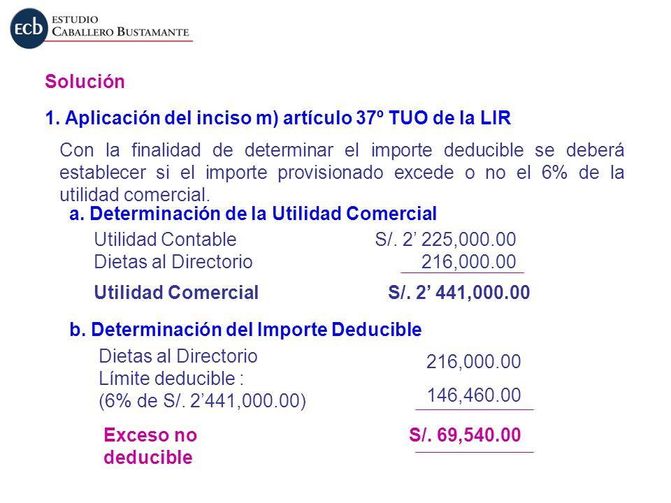 Solución 1. Aplicación del inciso m) artículo 37º TUO de la LIR Con la finalidad de determinar el importe deducible se deberá establecer si el importe