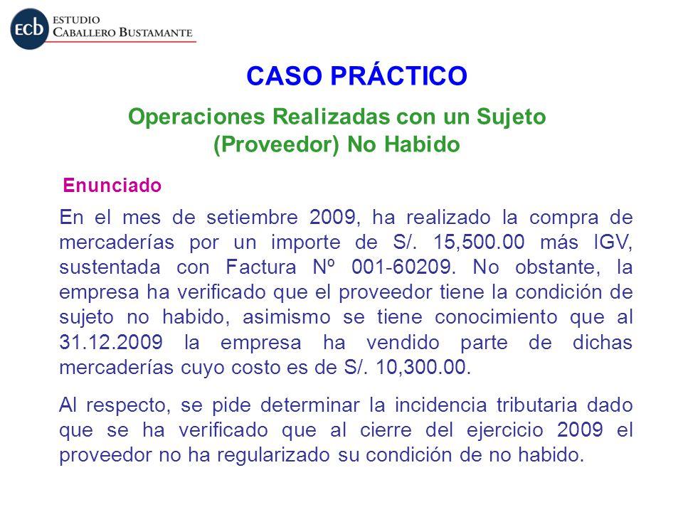 Operaciones Realizadas con un Sujeto (Proveedor) No Habido Enunciado CASO PRÁCTICO En el mes de setiembre 2009, ha realizado la compra de mercaderías